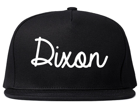 Dixon Illinois IL Script Mens Snapback Hat Black