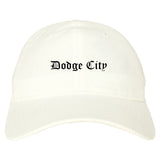 Dodge City Kansas KS Old English Mens Dad Hat Baseball Cap White