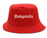 Dodgeville Wisconsin WI Old English Mens Bucket Hat Red