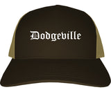 Dodgeville Wisconsin WI Old English Mens Trucker Hat Cap Brown