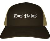 Dos Palos California CA Old English Mens Trucker Hat Cap Brown