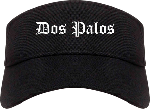 Dos Palos California CA Old English Mens Visor Cap Hat Black