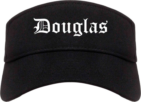 Douglas Georgia GA Old English Mens Visor Cap Hat Black