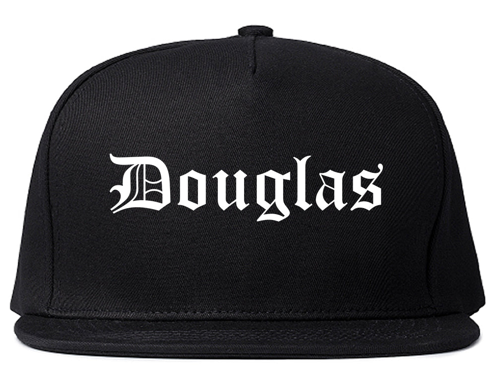 Douglas Wyoming WY Old English Mens Snapback Hat Black