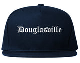 Douglasville Georgia GA Old English Mens Snapback Hat Navy Blue