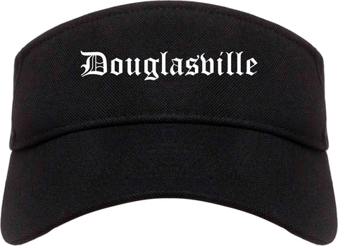 Douglasville Georgia GA Old English Mens Visor Cap Hat Black
