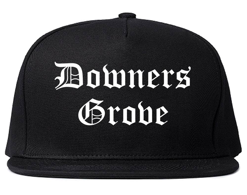 Downers Grove Illinois IL Old English Mens Snapback Hat Black