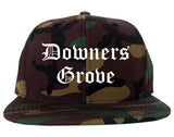 Downers Grove Illinois IL Old English Mens Snapback Hat Army Camo