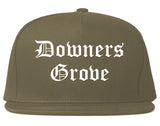Downers Grove Illinois IL Old English Mens Snapback Hat Grey