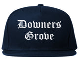 Downers Grove Illinois IL Old English Mens Snapback Hat Navy Blue