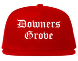 Downers Grove Illinois IL Old English Mens Snapback Hat Red
