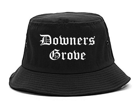 Downers Grove Illinois IL Old English Mens Bucket Hat Black