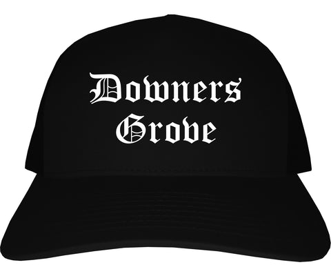 Downers Grove Illinois IL Old English Mens Trucker Hat Cap Black