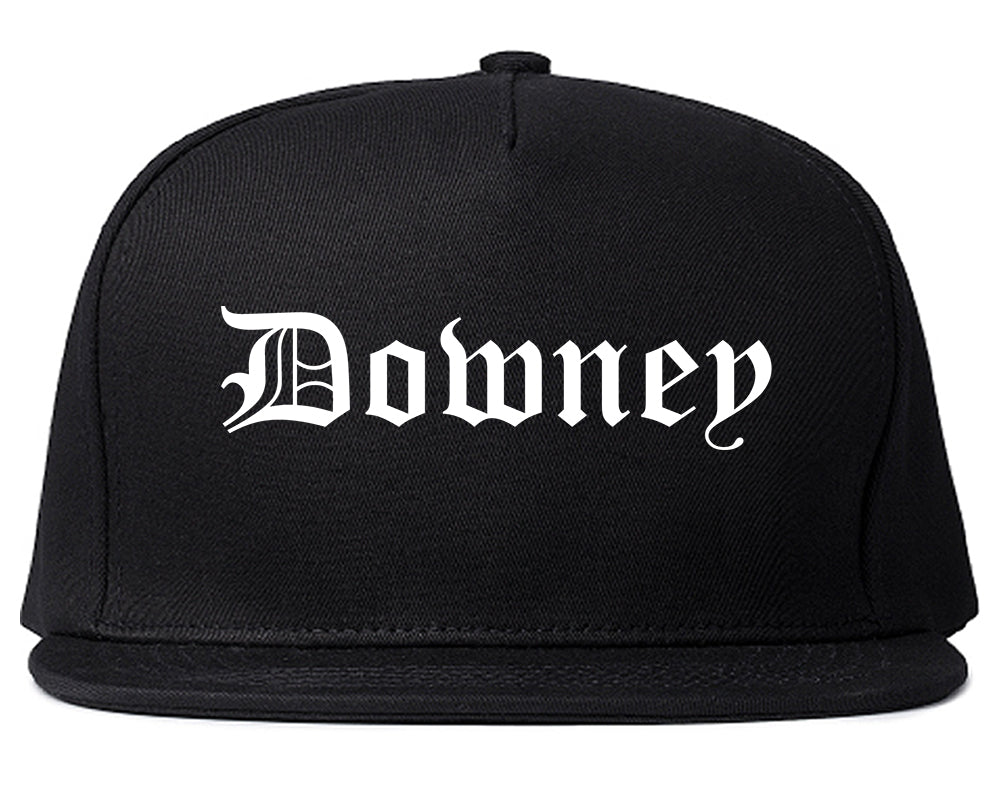 Downey California CA Old English Mens Snapback Hat Black