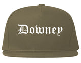 Downey California CA Old English Mens Snapback Hat Grey