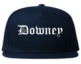 Downey California CA Old English Mens Snapback Hat Navy Blue