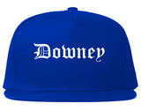 Downey California CA Old English Mens Snapback Hat Royal Blue