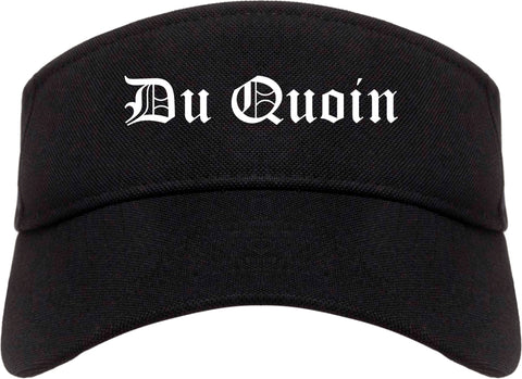 Du Quoin Illinois IL Old English Mens Visor Cap Hat Black
