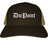 DuPont Washington WA Old English Mens Trucker Hat Cap Brown