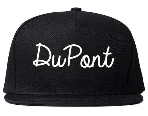 DuPont Washington WA Script Mens Snapback Hat Black