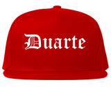 Duarte California CA Old English Mens Snapback Hat Red