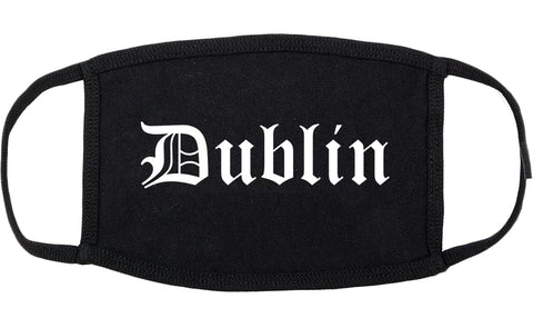 Dublin California CA Old English Cotton Face Mask Black