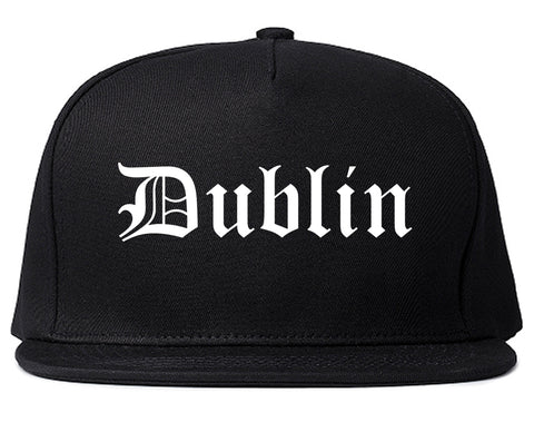 Dublin California CA Old English Mens Snapback Hat Black