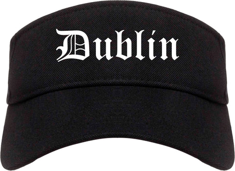 Dublin California CA Old English Mens Visor Cap Hat Black
