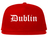 Dublin Ohio OH Old English Mens Snapback Hat Red