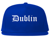 Dublin Ohio OH Old English Mens Snapback Hat Royal Blue