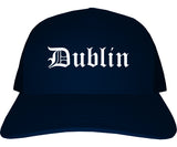 Dublin Ohio OH Old English Mens Trucker Hat Cap Navy Blue