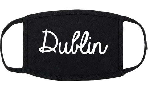 Dublin Ohio OH Script Cotton Face Mask Black