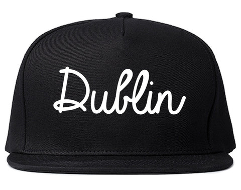 Dublin Ohio OH Script Mens Snapback Hat Black