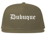 Dubuque Iowa IA Old English Mens Snapback Hat Grey