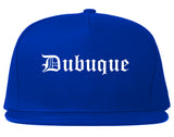 Dubuque Iowa IA Old English Mens Snapback Hat Royal Blue