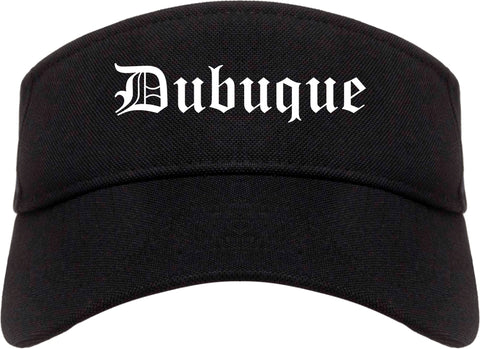 Dubuque Iowa IA Old English Mens Visor Cap Hat Black