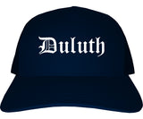 Duluth Minnesota MN Old English Mens Trucker Hat Cap Navy Blue