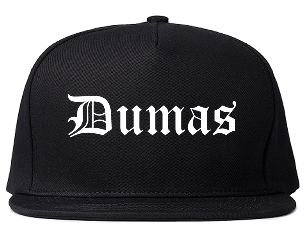Dumas Arkansas AR Old English Mens Snapback Hat Black