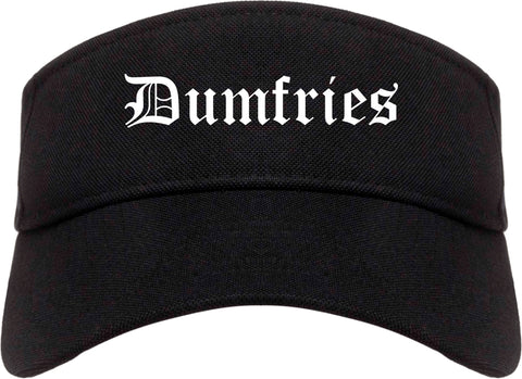 Dumfries Virginia VA Old English Mens Visor Cap Hat Black