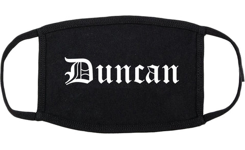 Duncan Oklahoma OK Old English Cotton Face Mask Black