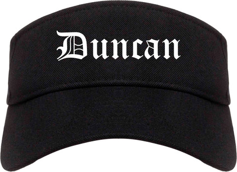 Duncan Oklahoma OK Old English Mens Visor Cap Hat Black