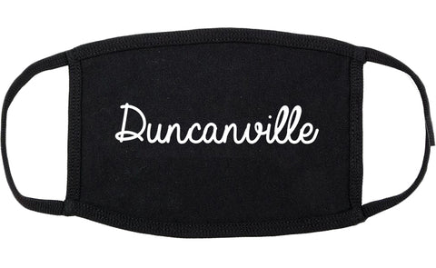 Duncanville Texas TX Script Cotton Face Mask Black