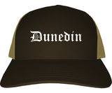 Dunedin Florida FL Old English Mens Trucker Hat Cap Brown