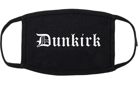 Dunkirk New York NY Old English Cotton Face Mask Black