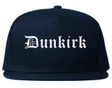 Dunkirk New York NY Old English Mens Snapback Hat Navy Blue