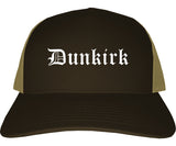 Dunkirk New York NY Old English Mens Trucker Hat Cap Brown