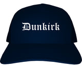 Dunkirk New York NY Old English Mens Trucker Hat Cap Navy Blue