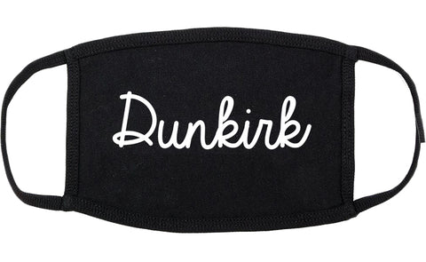 Dunkirk New York NY Script Cotton Face Mask Black