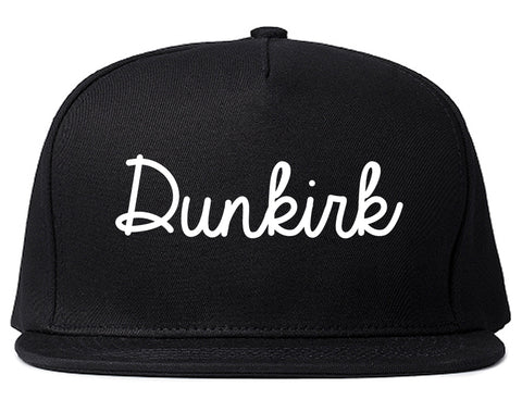 Dunkirk New York NY Script Mens Snapback Hat Black
