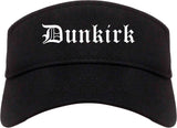 Dunkirk New York NY Old English Mens Visor Cap Hat Black